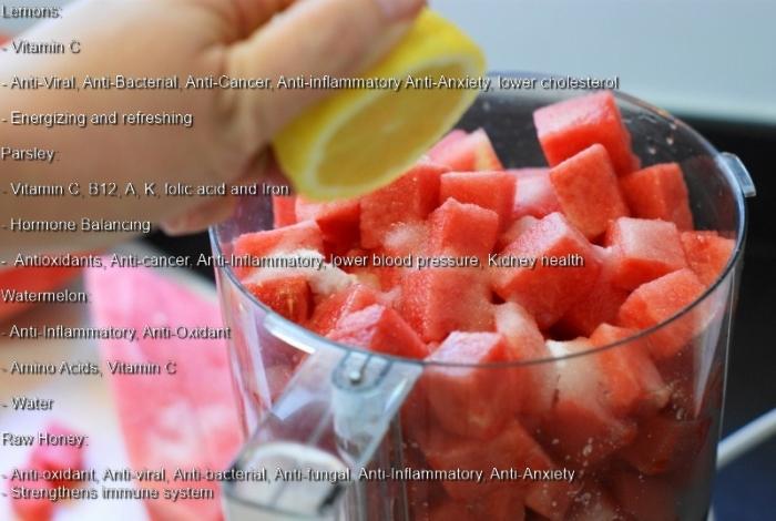 Watermelon Wake-Up Juice Benefits of Lemons, Watermelon, Parsley and Honey